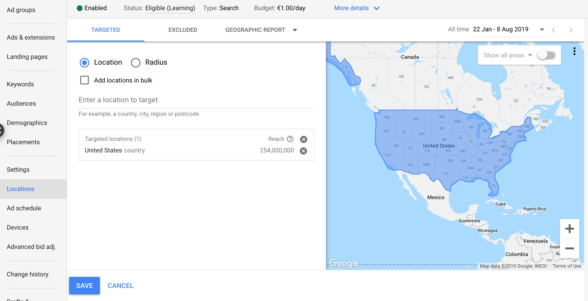 Location Targeting Google Ads Search Campaign